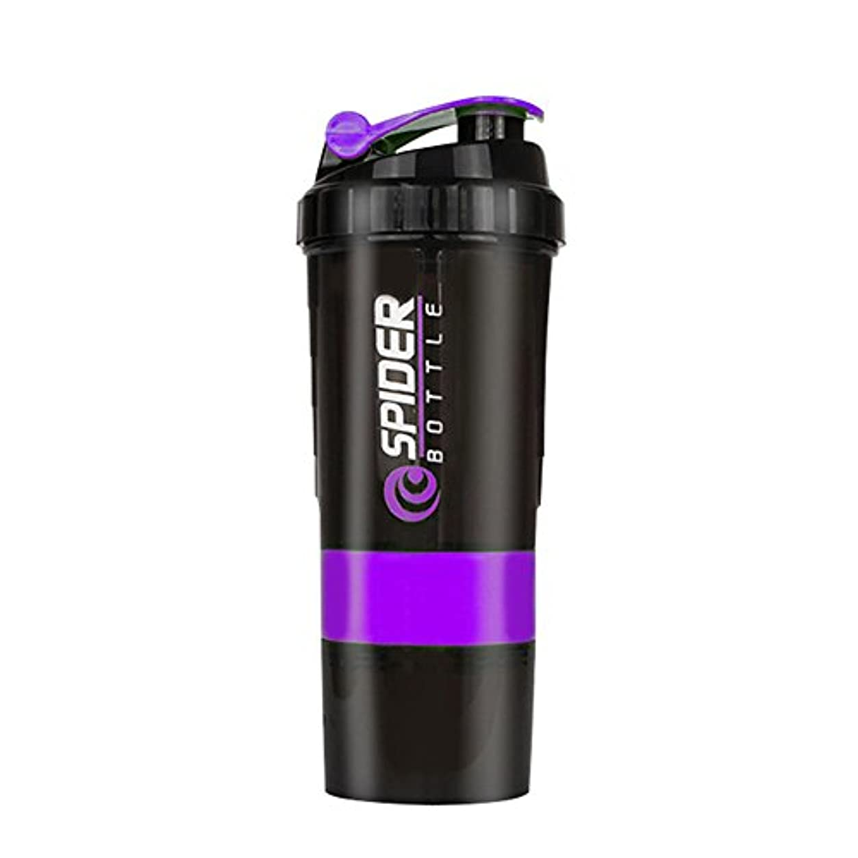 論争動かない有料プロテインシェイカー プラスチックボトル シェーカーボトル フィットネス用 プラスチック 目盛り ジム スポーツ 600ml 3層プロテインボックス 大容量 (Purple)