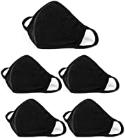 5 Pcs Cotton Face Mask, Protective Reusable Washable Cotton Fabric Masks for Adult - Black