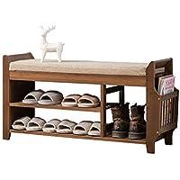 シューズラックシューズベンチ竹靴キャビネット多機能ロッカーシューズスツール シューズホルダー (Color : Brown, Size : 78.5x29.5x49.5cm)