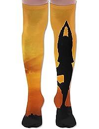 ソフト 65CM 靴下 オーバーニー ハイソックス ロングニーハイ 口ゴムゆったり ビジネスソックス ヨガ ビーチ 日暮れ 3Dプリント 防寒 フットサポート付き ビジネス 美脚 脚長効果抜群 立体成型
