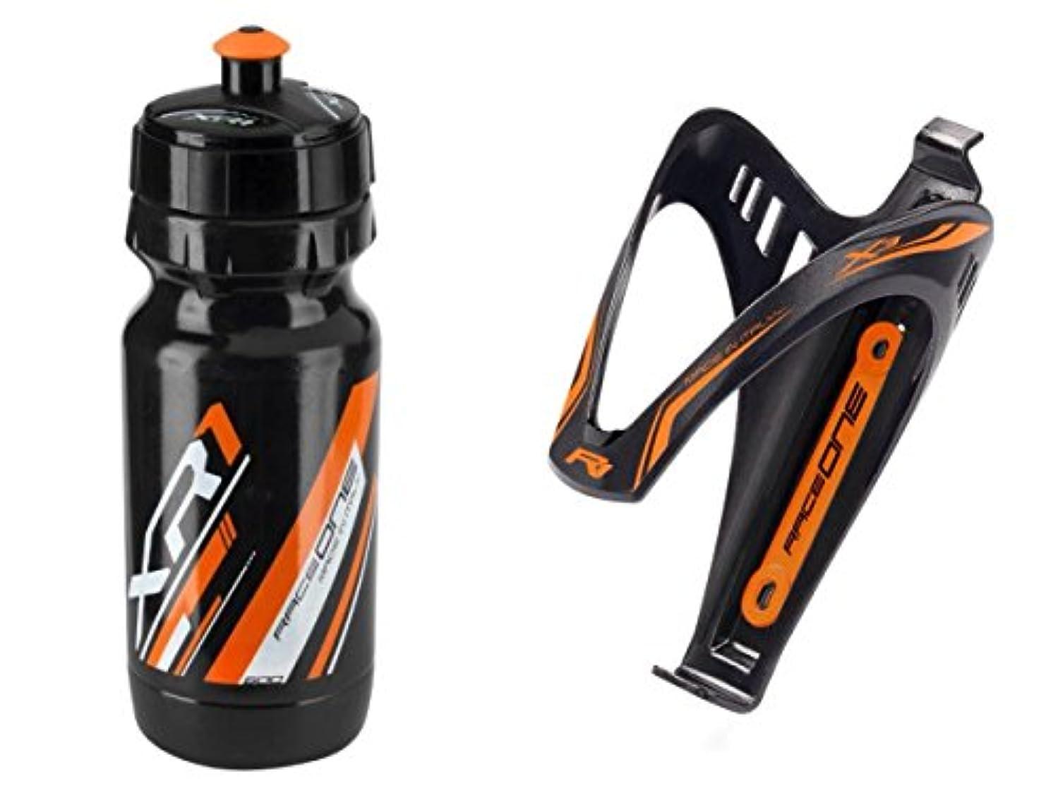 マージン官僚不愉快RaceOne.it - KIT Fluo Race - 2 PCS - バイクウォーターボトルXR1 +バイクボトルケージX3自転車ツールホルダー。レースサイクリング/MTB/グラベル/トレッキングバイク。 600 CC。カラー:オレンジFluo 100%MADE IN ITALY