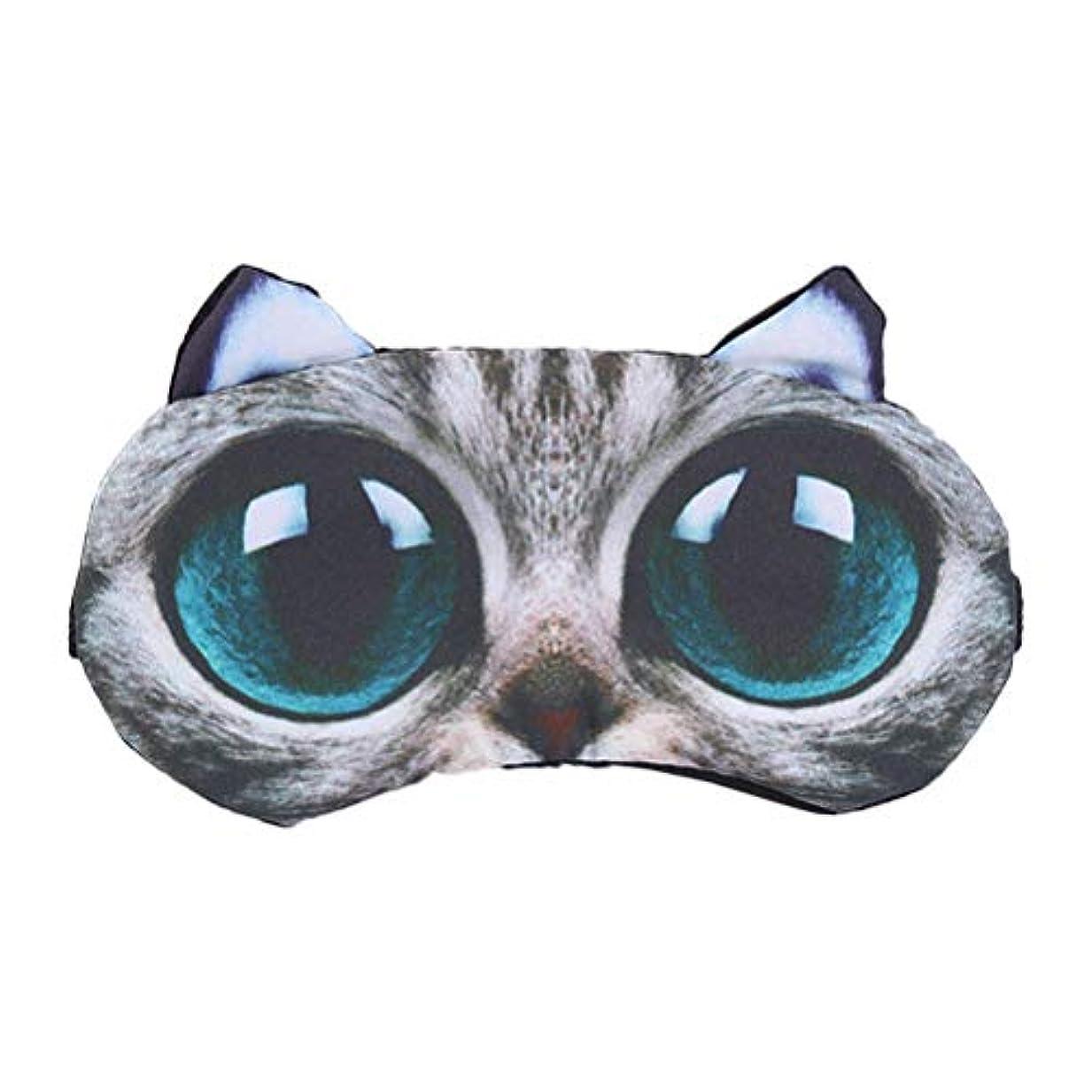 宙返り全く大通りROSENICE 3Dの大きな目の猫は、旅行ホームの目隠しを目隠し冷却
