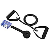 Single Resistance Band with Door Anchor and Guide, Exercise Tube, Natural Latex Workout Band for Resistance Training, Physical Therapy, Fitness Strength Training (9.1kg, Black)