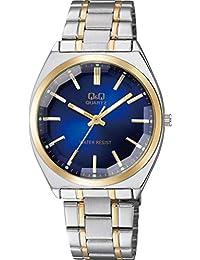 [シチズン キューアンドキュー]CITIZEN Q&Q 腕時計 アナログ クラシック 日常生活防水 ブレスレット コンビ ブルー シルバー QB78-412 メンズ