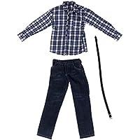 【ノーブランド 品】1/6スケール 12インチアクションフィギュアに 長袖 シャツ ジーンズ 衣装 #1