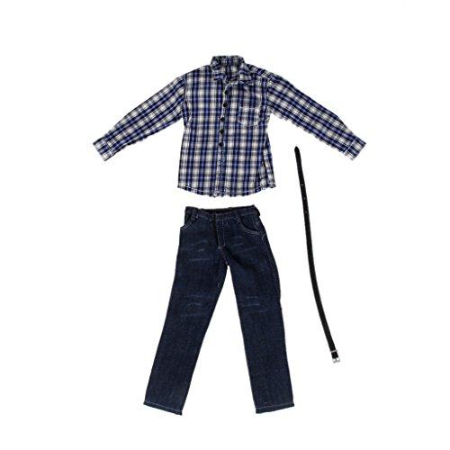 a07294b693389  ノーブランド 品 1 6スケール 12インチアクションフィギュアに 長袖 シャツ ジーンズ 衣装 #1