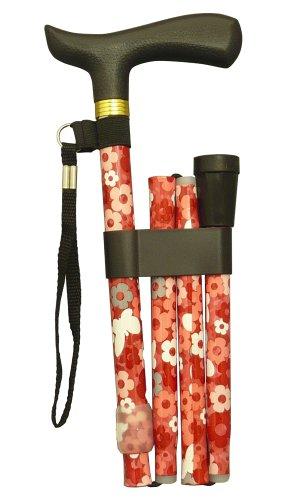RQステッキ エコノミータイプ 折りたたみ式 花柄レッド...