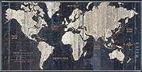 ポスター アーティスト不明 Old World Map Blue 額装品 アルミ製ベーシックフレーム(ブラック)