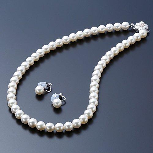 [Gem Crown] 高級 国産 貝 パール フォーマル ネックレス 百貨店 人気 国内宝飾職人製作 [保証書付] パールネックレス イヤリング セット ホワイト 42cm 真珠 冠婚葬祭 結婚式