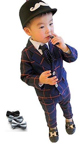 [笑顔一番] ボーイズ チェック柄 フォーマル スーツ 上下2点 + 蝶ネクタイ セット / 入学式 結婚式 発表会 ブライダル 七五三 記念日 キッズ 男の子 (サイズ: 90~130 ) [A145-12] ネイビー 100cm