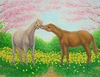 絵画 6号油絵 山路京子 作 「桜と二頭の馬」 風景画 インテリア リビング
