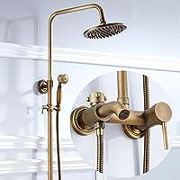 浴室シャワー蛇口セット、アンティークブラス手持ちシャワーヘッドシャワーシステムレインシャワーとハンドヘルド - 豪華なバスルームシャワーセットのためのホルダー