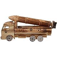 木製Truck Carrying MissileモデルWoodcraftキッズ子供おもちゃ装飾