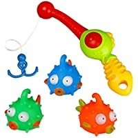 Bath Toy Fishing Game Water Bathtub Toys with Floating Fishes and Fishing Role 4 PCS Great Gift for Toddlers Kids Boys Girls over 3 YearsRandom Color [並行輸入品]