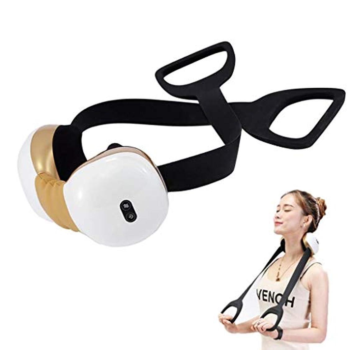 作成者病者輪郭電動ネックマッサージャー、子宮頸部マッサージャー、加熱/調整可能/USB充電、20分間の自動開閉機能、筋肉のリラックス、痛みと疲労の緩和
