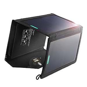AUKEY ソーラーチャージャー ソーラーパネル 20W 2USBポート 折り畳み式 iPhone 6 iPad Air2 Xperia Z5 Galaxy S7 Android各種他など スマホ スマートフォン タブレット モバイルバッテリー 対応 ソーラー充電器 アウトドア ポータブル USB充電器 PB-P2