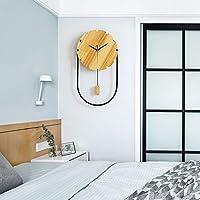 掛け時計 木製ベッドルームリビングルームの壁時計ミュートクォーツ壁掛け時計(29 * 53CM) JPYLY