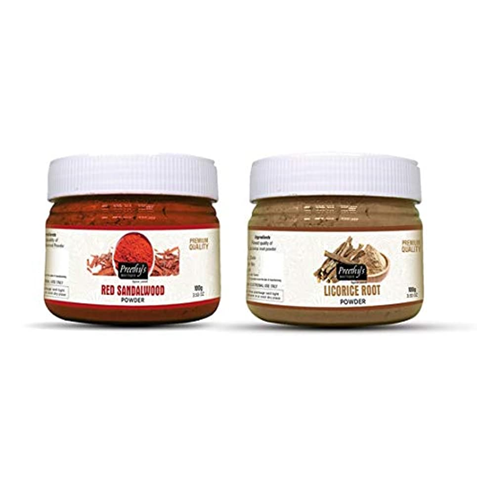 敵火傷神経衰弱Combo offer Of Licorice root powder 100gm & Red sandalwood powder 100gm - Natural Remedies for Skin Disorders,...