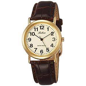 [シチズン キューアンドキュー]CITIZEN Q&Q 腕時計 Falcon ファルコン アナログ 革ベルト ゴールド QA62-103 メンズ
