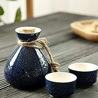 XHNMAO 水差し、セラミックワインセット、ワインクーラー、中国 (Color : Blue)