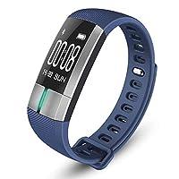 ECG/心拍数スマートブレスレット、Bluetooth IP67防水歩数計、温度監視、モーショントラッカー Blue