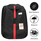 1680D Durable Car Seat Travel Bag Backpack, Airplane Gate Check Bag with Storage Pouch, Car Seat Cover Backpack Carrier for Air Travel for Most Car Seats, Waterproof Car Seat Bag