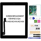 for iPad 3 Screen Replacement-SRJTEK Touch Screen for iPad 3, 3rd Gen A1416 A1403 A1430 Digitizer Glass Sensor Assembly Repair Parts Kits,Include Home Button,Adhesive,Tempered Glass Black