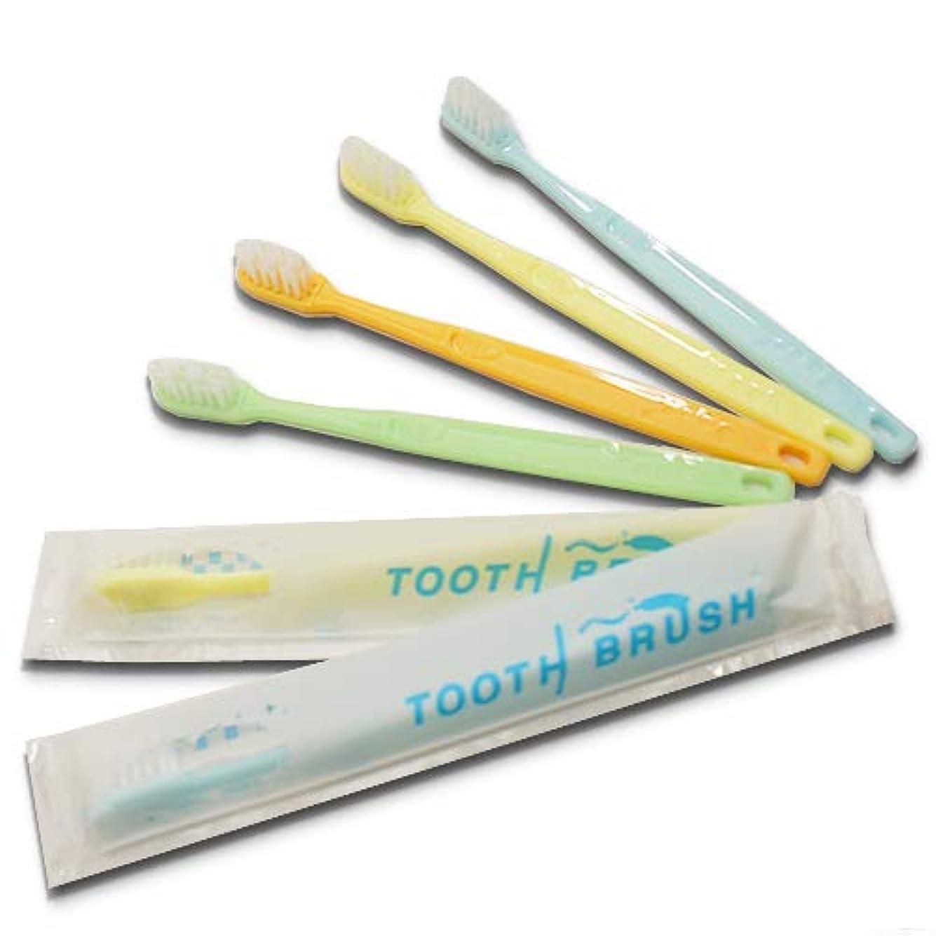 によってまたね建物業務用インスタントハブラシ 100本 歯みがき粉付着タイプ 国産│使い捨て歯ブラシ 激安 カラー ビジネスホテル宿泊施設で