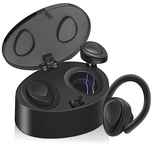 bluetooth イヤホン TWS-K2改良版 音質改良 イヤーフック付き ハンズフリー通話/拒否 IPhone Android 対応 I.Lux (ブラック2)