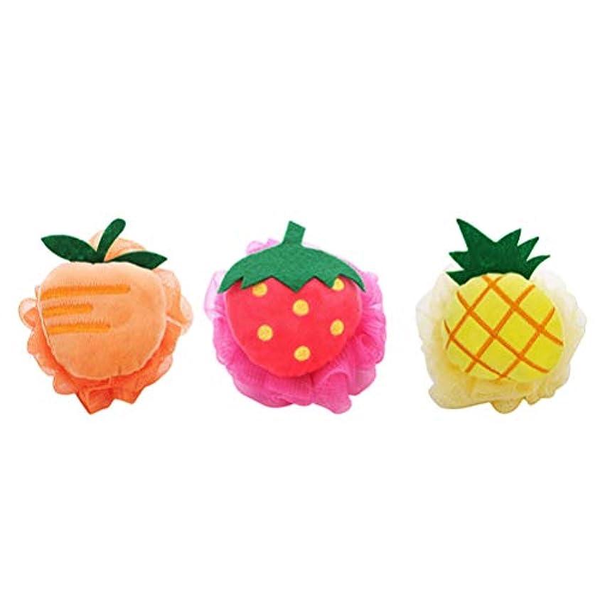 六月エゴイズムせがむSUPVOX 3ピース風呂シャワースポンジかわいいフルーツ形ソフトシャワーボールメッシュシャワースポンジなよなよした子供のための女性