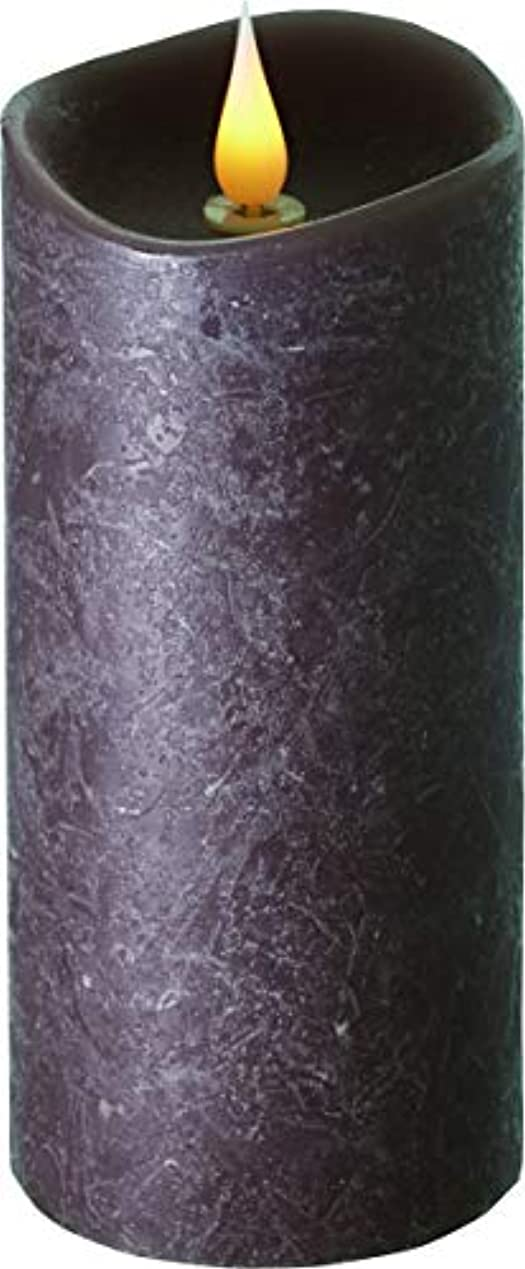 惨めな下る高くエンキンドル 3D LEDキャンドル ラスティクピラー 直径7.6cm×高さ18.5cm ブラウン