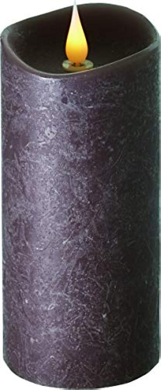 ヒゲクジラ添付悪質なエンキンドル 3D LEDキャンドル ラスティクピラー 直径7.6cm×高さ18.5cm ブラウン