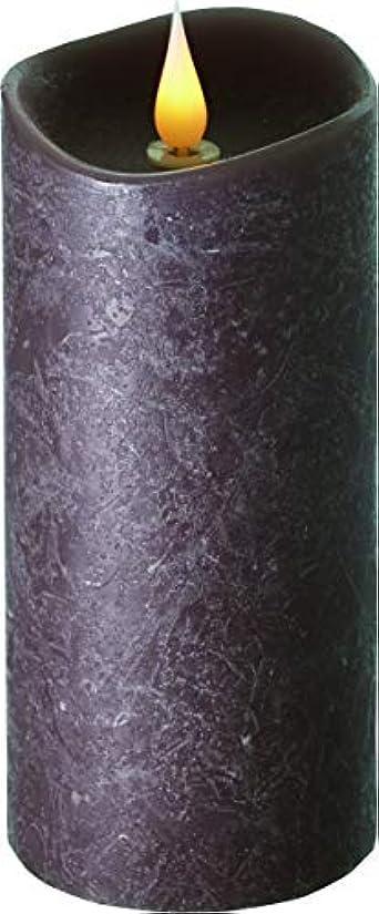 線乙女汚染されたエンキンドル 3D LEDキャンドル ラスティクピラー 直径7.6cm×高さ18.5cm ブラウン