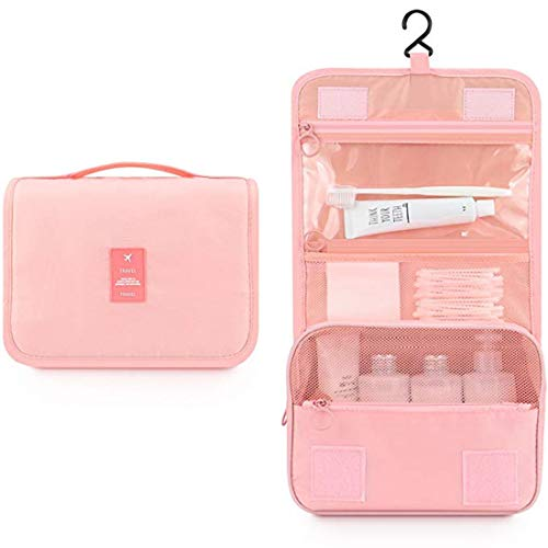 FLORICA Hanging Toiletry Bag Large Cosmetic Makeup Bag Travel Storage Organizer for Men Women with Sturdy Hook (Pink)