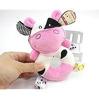 Dalinoベイビーズおもちゃベビーラウンドかわいい動物リングRattles Hand Toy (牛)