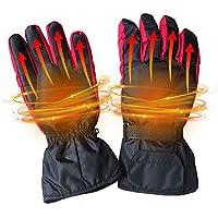 KOBWA メンズ レディース 電気加熱手袋 電池式 暖かい 冬用 防水 カーボンファイバー加熱 保温手袋 屋内/屋外/キャンプ/サイクリング/オートバイ/ハイキング/スキー/ライディングに最適