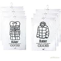 Wizlore 衣類圧縮袋 吊るせる 衣類用 圧縮袋 洋服カバー 手動ポンプ付 M/Lサイズ 6枚セット