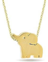 14Kゴールド メッキ シルバー925 象 ゾウ ネックレス ペンダント 幸運 ラッキー 象さん アニマルネックレス