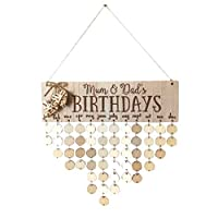 BESTOYARD Mum and Dad's Birthdayファミリーバースデーボード 飾り板 DIY木製ハンギングカレンダー 誕生日リマインダー ラウンドディスク ホームウォールデコレーション