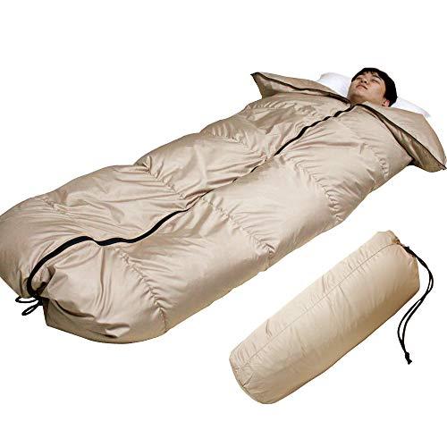 羽毛寝袋 シュラフ 冬用 ダウン80% コンパクト収納 封筒型 軽量 羽毛肌掛け布団にもなるあったか...