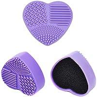シリコン洗濯板 ポータブル メイクブラシクリーナー 旅行 や 外泊 の 必需品 化粧ブラシクリーナー 洗浄ブラシ 清掃ブラシ 3in1(パープル)