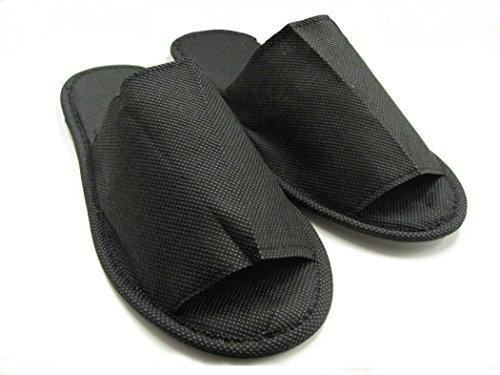 使いきり 不織布 スリッパ ブラック (黒)