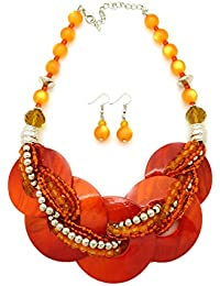 Women's Layered Round Colorful Shell Twisted Multi Beaded Statement Fashion Necklace