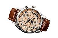 【JMW TOKYO】ピンクゴールド&シルバー上級「ムーンフェイズ 」本革ベルトローマ数字インデックス100m防水タキメーター腕時計【世界限定300本】