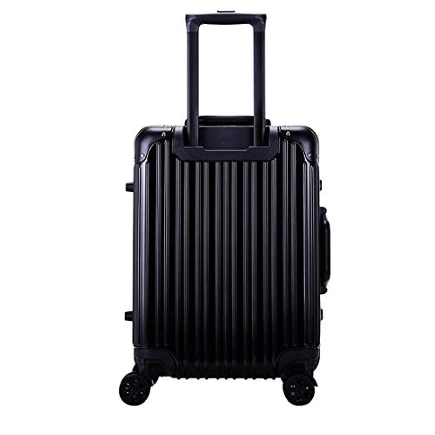 仮定、想定。推測なので威信荷物トロリーケースアルミフレームボードスーツケース防水荷物金属カラーTSAロック,Black,28in