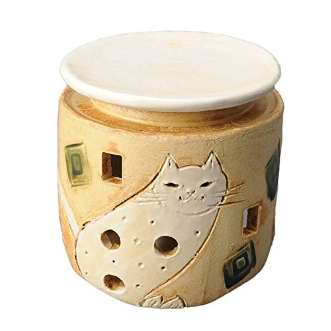 すすり泣き冷凍庫菊手造り 茶香炉/白猫 茶香炉/アロマ 癒やし リラックス インテリア 間接照明