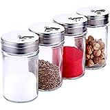 調味料入れ スパイスボトル ガラス素材 塩 コショウ 砂糖入れ 保存容器 無毒無害 4個セット 良い気密性 家庭キッチン