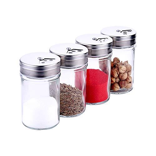 調味料入れ 調味料ボトル ガラス素材 塩 コショウ 砂糖入れ 保存容器 無毒無害 4個セット 良い気密性 家庭キッチン用