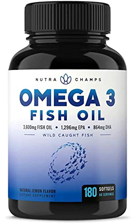 アプライアンス兵士穿孔するNutraChamps Omega 3 Fish Oil 3600mg - 180粒