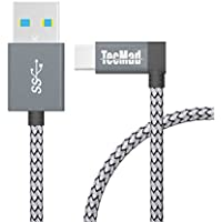 TecMad Type-c充電ケーブル USB-A to USB-C ケーブル USB C3.0 L字コネクター ケーブル 1.2m グレー 防弾仕様の高耐久素材 急速充電 高速データ通信対応Nintendo Switch/Huawei P9/P10、Huawei Mate 9/OnePlus 2、3、5/Samsung Galaxy S8 Plus、新しいMacBook、ChromeBook Pixel、Nexus 5X、Nexus 6P/ DJI Mavic Pro Drones